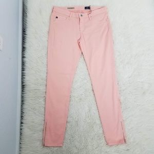 AG Zip Up Skinny Ankle Jeans Sz 28 Peach